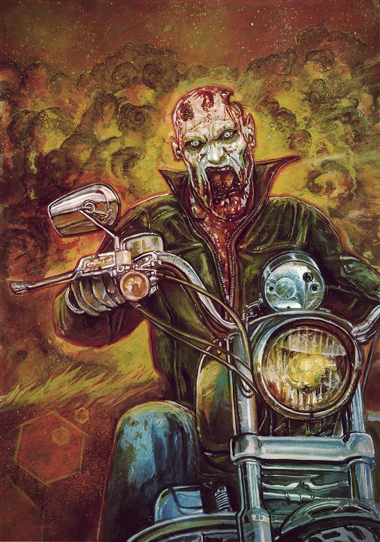 Couverture du jeu : un motard zombie