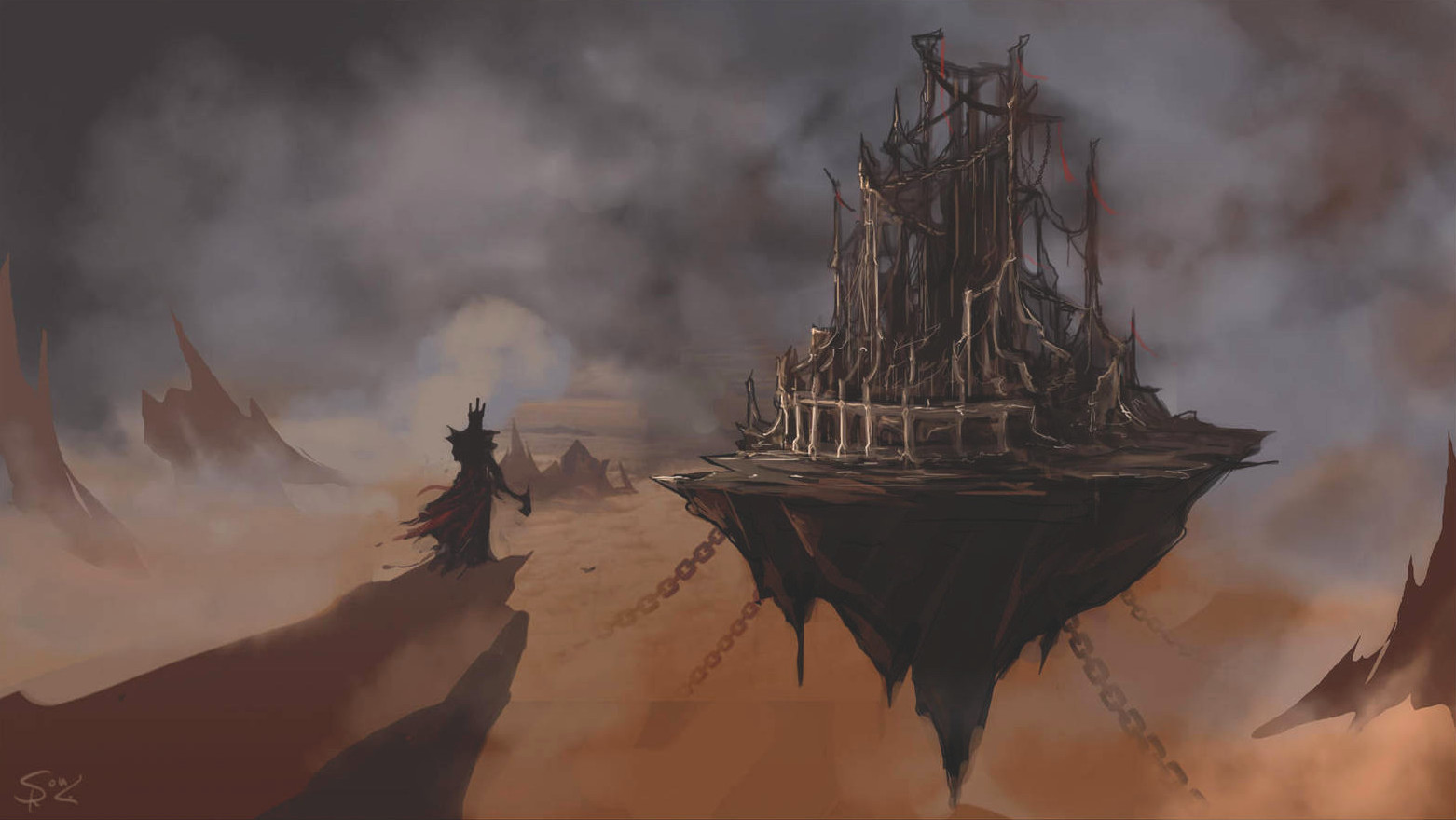 Un héro en armure se tient devant une citadelle volante
